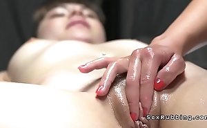 Toned belly masseuse gets pussy licked