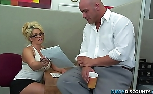 Pussylicked milf secretary rides bosses cock
