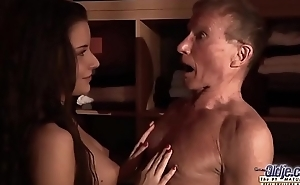 Teen Fucked Old man cock seduced him swallowed his juicy cum hardcore