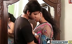 Indian hot crammer in pink bra and sari seducing young boy -Adulteacher.com