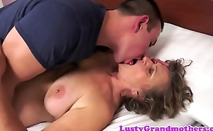 Hairy european grandma sucking and fucking