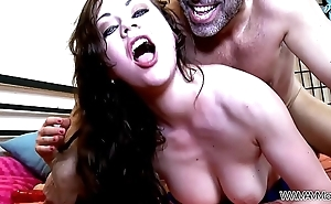 Busty cam girl deep fucked by stranger &amp_ swallow cum