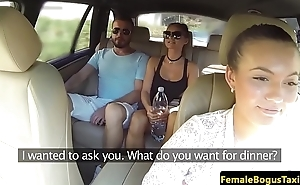 Lovely taxi babe sucks passengers dick