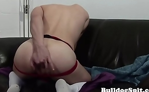 Jockstrap hunk fingers ass while wanking solo