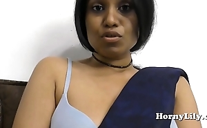 Indian MILF spreads her hairy pussy and fucks her beamy exasperation