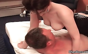 Lady Tiffany smothers slaves face with her prudish pussy