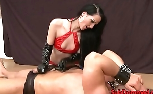 Anal toying female dom gives guy foot job